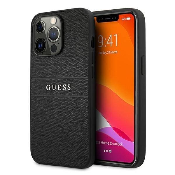 "Guess GUHCP13LPSASBBK iPhone 13 Pro / 13 6.1"" black/black Saffiano Strap"
