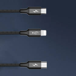 Baseus Rapid Series 3-in-1 cable 1.2m For IP+Micro+Type-C Black