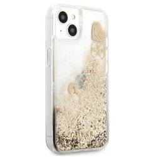 """Guess GUHCP13MGLHFLGO iPhone 13 6.1"""" Gold/Gold Hartschale Glitter Charms"""