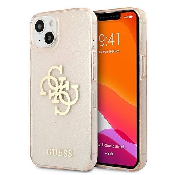 """Guess GUHCP13MPCUGL4GGO iPhone 13 6.1"""" Gold/Gold Hartschalengehäuse Glitter 4G Big Logo"""