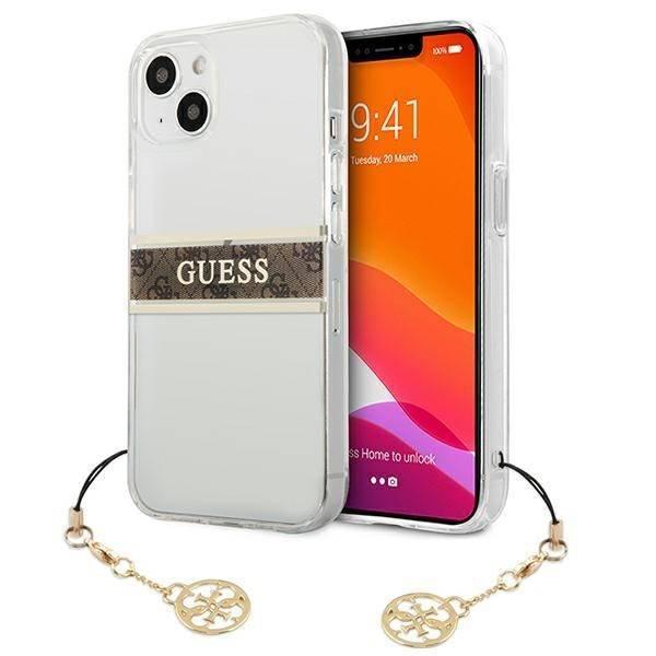 "Guess GUHCP13SKB4GBR iPhone 13 mini 5,4"" Transparentes Hartschalengehäuse 4G Braunes Armband Charm"