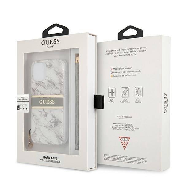 "Guess GUHCP13SKMABGR iPhone 13 mini 5,4"" grau/grau Hartschalenkoffer Marble Strap Collection"