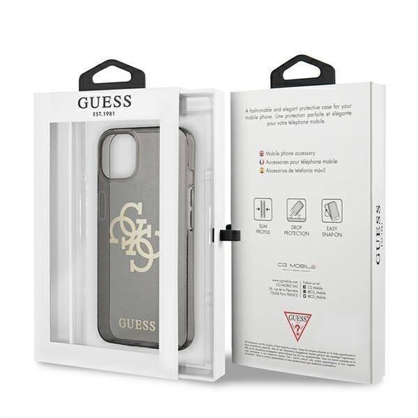 """Guess GUHCP13SPCUGL4GBK iPhone 13 mini 5.4"""" schwarz/schwarz Hartschalengehäuse Glitter 4G Big Logo"""