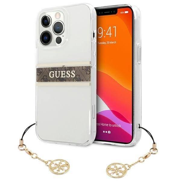 """Guess GUHCP13XKB4GBR iPhone 13 Pro Max 6.7"""" Transparentes HartschalenHülle 4G Brauner Riemen Charm"""