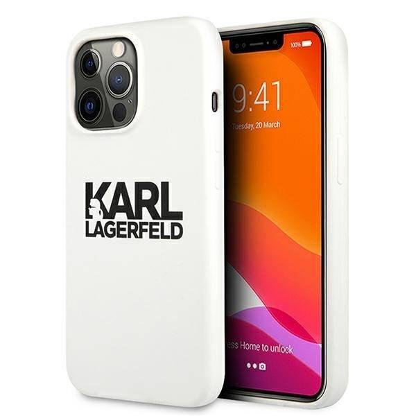 KARL LAGERFELD Apple iPhone 13 Pro Silikon Stack Logo Weiß Hülle