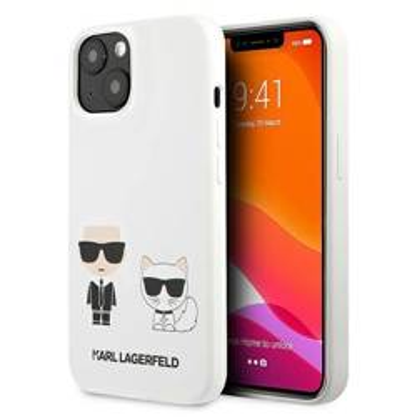 KARL LAGERFELD Apple iPhone 13 Silikon Karl & Choupette Weißes Hardcase