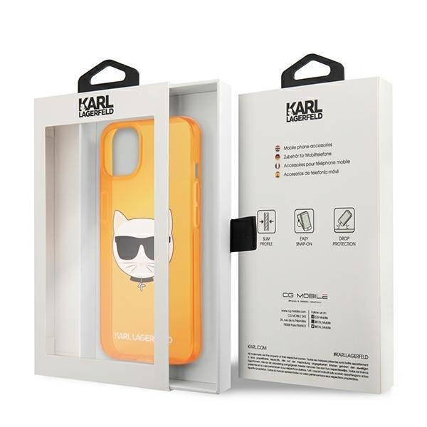 """Karl Lagerfeld KLHCP13MCHTRO iPhone 13 6.1"""" orange/orange Hartschale Glitter Choupette Fluo"""