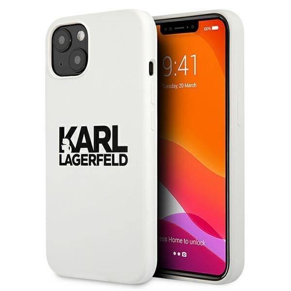 "Karl Lagerfeld KLHCP13MSLKLWH iPhone 13 6,1"" Silikon Stack Logo weiß/weiß"