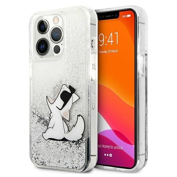 Etui KARL LAGERFELD Apple iPhone 13 Pro Max Liquid Glitter Choupette Fun Srebrny Hardcase