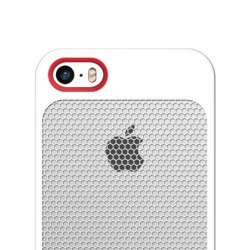 Etui iPhone 5 5S SE SEVENMILLI Real Metal Mesh HEX White / RED