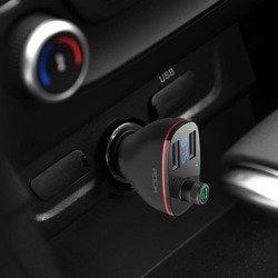 ŁADOWARKA ROCK B300 2-PORT USB CAR CHARGER + TRANSMITER FM BLACK CZARNA